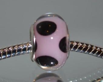 European Pink Acrylic Bead with Black Dot