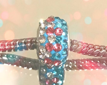 European Small Blue-Pink Rhinestone Spacer  for Glass Bead Bracelets