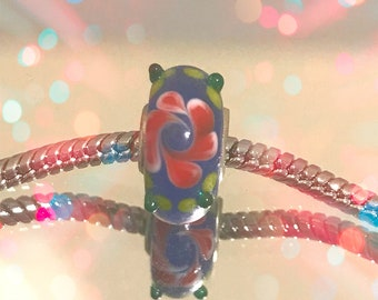 European Blue Glass Bead with Red-Yellow Flower Design for Glass Bead Bracelets