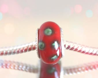 European Red Glass Bead with Green Accents