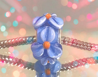 European Blue Glass Bead with Blown Blue Flower Accents