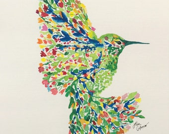 """Watercolor """"Bloom in Flight"""" Limited Edition Numbered  1-10"""