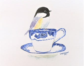 """Watercolor 'Tea for Two"""" Limited Edition Numbered  1-10"""