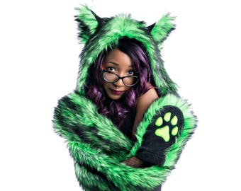 c9a6484d58a Pawstar WOLF Paws at You Hood - Realistic fake Furry Faux Fur Hat Paws  Scarf Scoodie Hoodie Animal Ear Fluffy Green Purple Pink Gray 1762