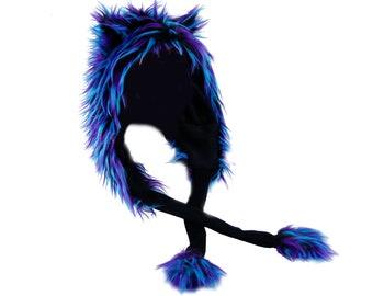 Pawstar Party Furz Puffet Hood - Furry Cat ears Strap Hat Faux Fur Squeaker squeeks scoodie Scarf Hoodie Hoody 1889