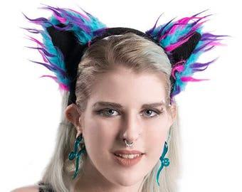 Furry FLeece Color Black Faux Fur Kitty Ears Yellow White red Pink Orange Green Blue Tan 3052 Pawstar Basic FLUFFY MEW Cat Ear HEADBAND