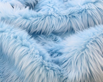 Super Luxury Faux Fur Fabric Material Teddys LONG SKY AQUA