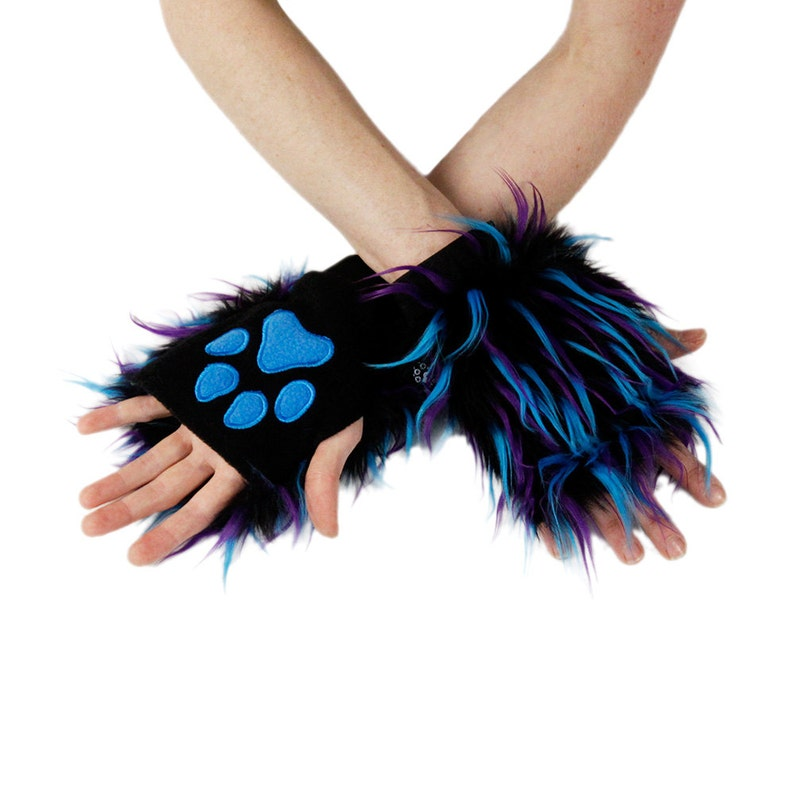 Paw Glove Hand Arm Warmers Cuffs Furry Costume Twilight Fluffy Blue Purple Pink Yellow Orange Red Teal 3172 Pawstar Party Furz Pawlets
