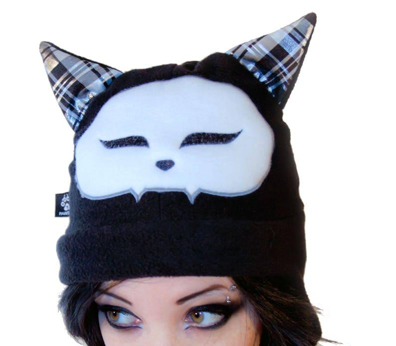 2f3b81a9d23da Pawstar SPOOKY CAT HAT fleece Beanie Cap Kitty Face bones