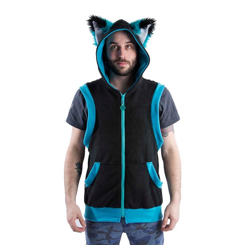15c7a69a0bf38 Pawstar FOX Yip Sleeveless HOODIE Jacket Coat Cosplay Black