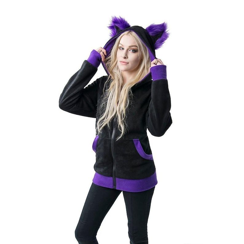 772b061b6 Pawstar Furry Ear Cat Hoodie Fluffy Kitty jacket Sweater | Etsy