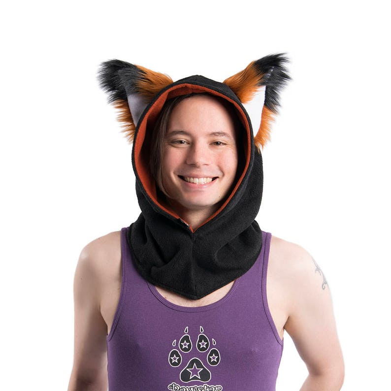 15a3a72e66069 Pawstar FOX YIP Ear COWL Furry Ears Hood Hoodie Hoody Red