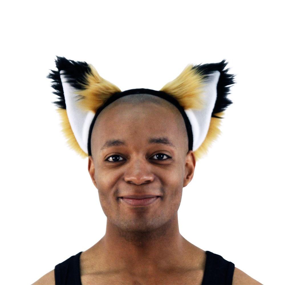 PAWSTAR Furry Fox Ears /& Tail Set Costume plush Brown Rust Black 4007 RU//BK