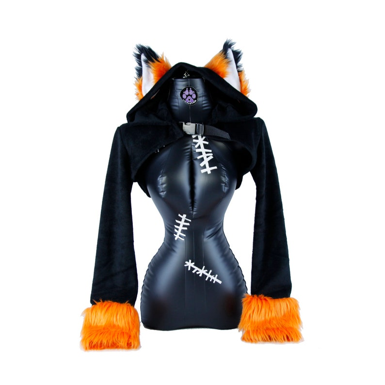 ee65741e7 Pawstar Furry FOX Ears Shrug Bolero Hoodie Crop Jacket Top | Etsy