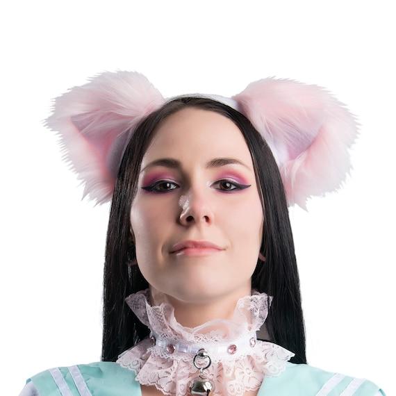 Neu SchwarzWeiß Cat Ears Kawaii Stirnband Halloween Cosplay mit Glocken