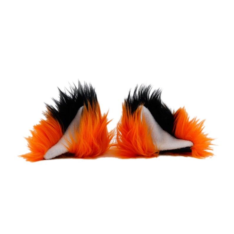 PAWSTAR Clip On In Fox Yip Ears Furry Cosplay Costume Black Dark Wolf Cat 3226