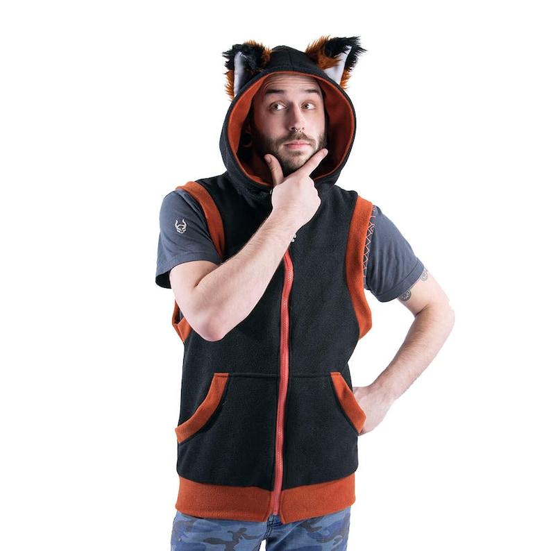 1d11258cd Pawstar FOX Yip Sleeveless HOODIE Furry Ears Jacket Coat image ...