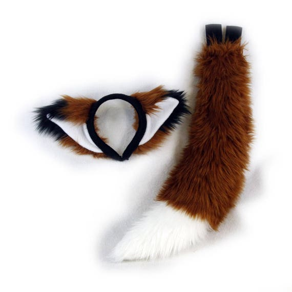Black-White Spotted Headband Ears Tail OR Ears /& Tail SET; Realistic Faux Fur