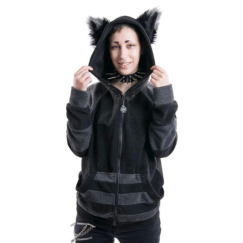 Pawstar STRIPEY Fox Yip HOODIE Fleece Jacket Furry Animal Ears Custom Sweater Cosplay Ears Costume Halloween Kitsune Raccoon Wolf 6130