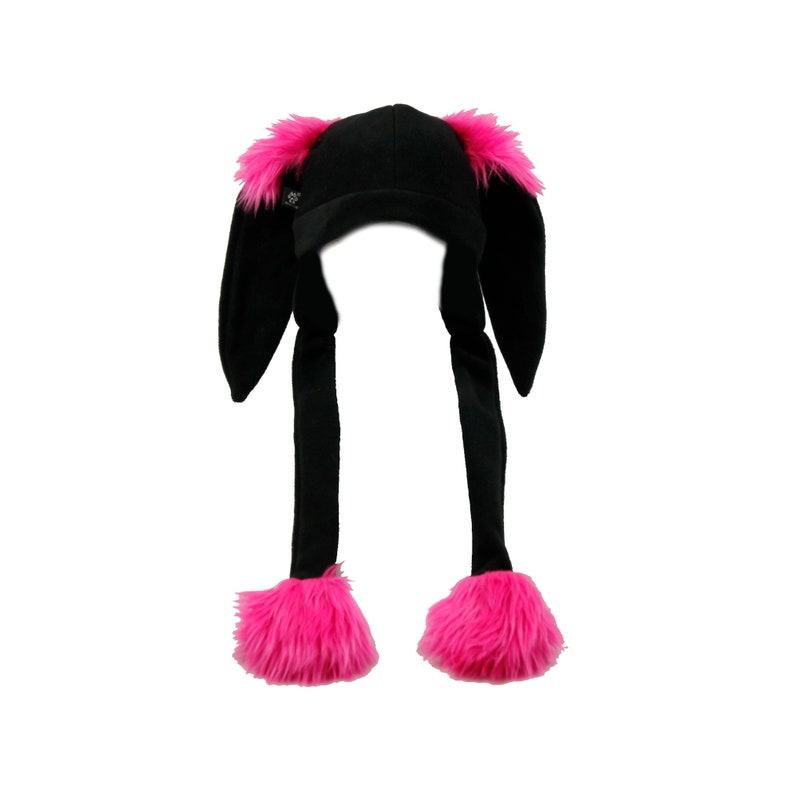 9912822c7 Pawstar BUNNY FLUFF HAT Puff Ball Furry Ears Beanie Rabbit   Etsy