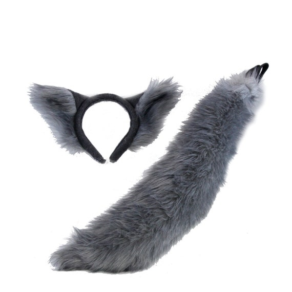 Black Cat Tail With White Tip Faux Fur