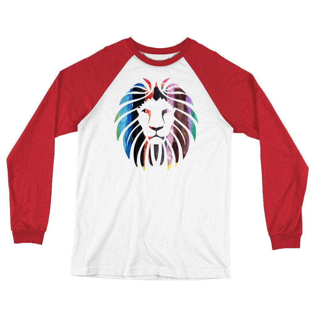 Long Sleeve Lion Baseball T-Shirt - Design Watercolor Painting Lion Design  - a77afa a56e9054e38