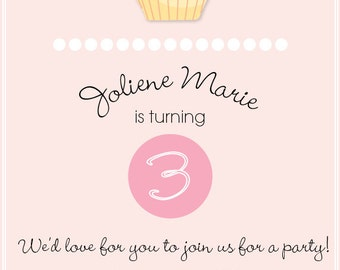 Girls Pink Cupcake Birthday Party Invitation