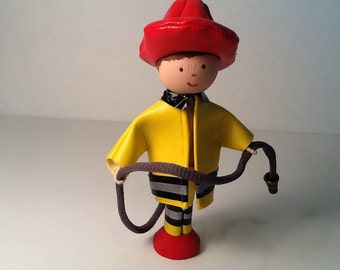 Firefighter Birthday Clothespin Doll Cake Topper
