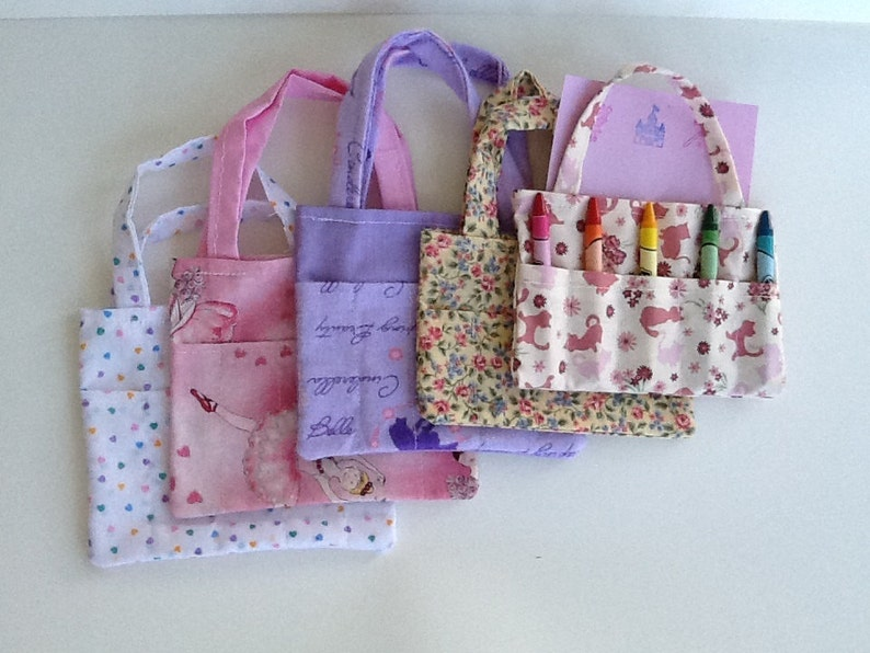 Set of Five Girls Children/'s Crayon Bags and Customized Paper