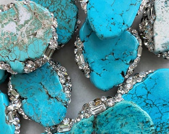 Topper-Swarovski & Turquoise Howlite Stone Cap- Choose your Style Universal Topper