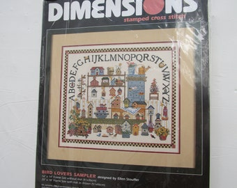 Dimensions Stamped Cross Stitch #3169 Bird Lovers Sampler NEW OLD STOCK