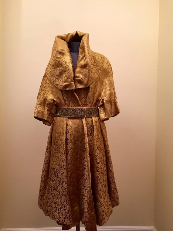 Gold Lame Wrap Coat/Runway Coat