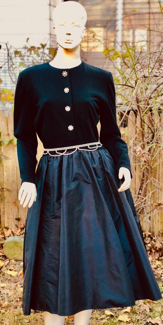 1970 Victor Costa Black Evening Dress