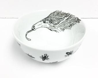 Black + White Line Work - Anteater + Ant Bowl - Hand Painted
