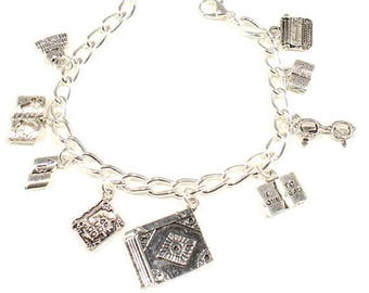 Book Charm Bracelet  Writers Jewelry Literary Book Lover Gift Love to Read Gift Book  Club Gift Teacher Gift Librarian Gift Book Enthusiast