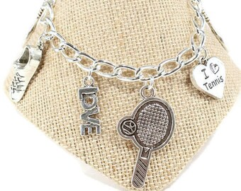 Tennis Bracelet Tennis Charm Bracelet Tennis Gift  Love Tennis  Sports Jewelry Tennis Racquet  Charm Tennis Coach Gift