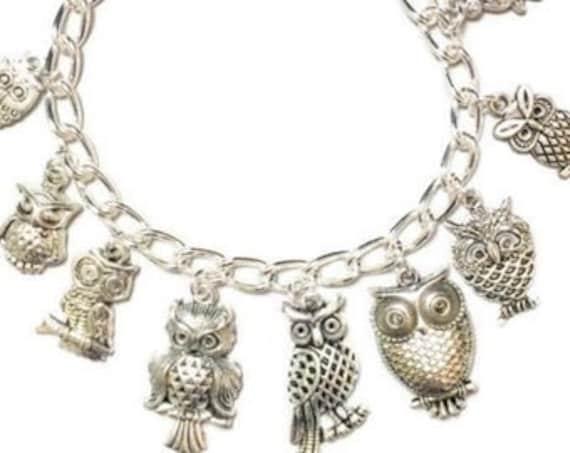 Graduation Gift Initial Bracelet Silver Owl Owl Bracelet Friendship Bracelet Owl Owl Jewelry Owl Silver Bracelet Graduation Bracelet