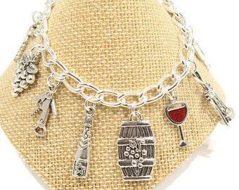 WINE- Wine Lovers Gift -Wine Jewelry- Wine Bracelet -Wine Lovers Gift - Wine Charm Bracelet-Hostess Gift- House Warming Gift -Wine Gift