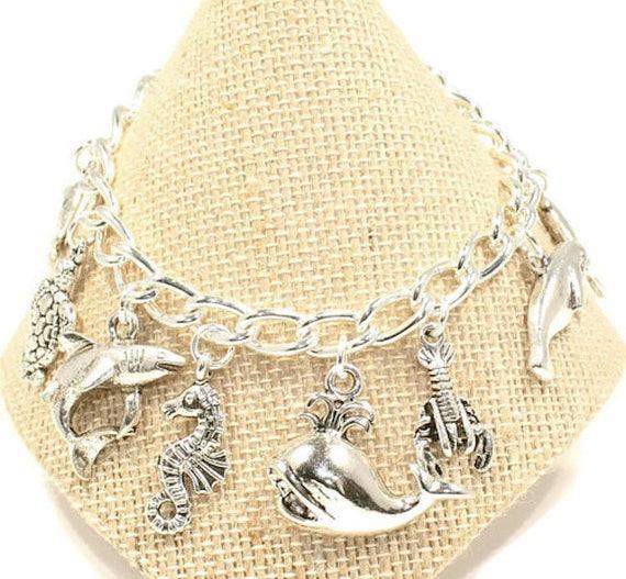 SILVER NECKLACE SEAHORSE DOLPHINS STARFISH SHARK Birthstone Charm Birthday Gift