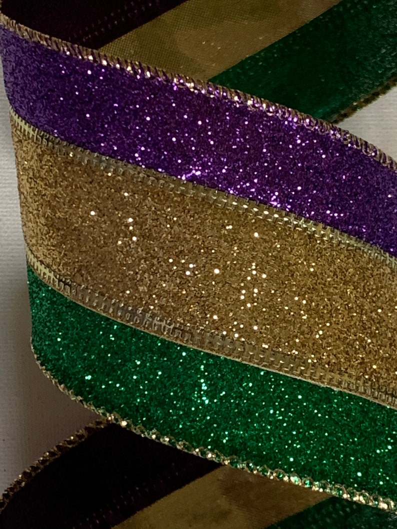 2.5 Purple Green /& Gold Glittered Ribbon ~ Mardi Gras ~ Stripes ~ Glitz ~ 10 Yard Roll