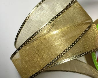 Ribbon By the Yard   Wired Sheer Gold Ribbon