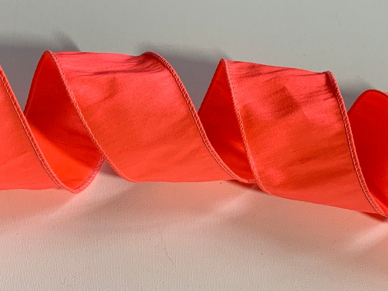 2.5 Neon Flow Pink Dupioni Wired Ribbon ~ Coral ~ Faux Silk ~ Wired Edges ~ 10 Yard Roll