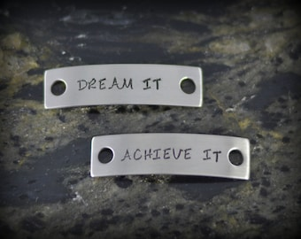 Dream It Achieve It Personalized Shoe Tags for Runners - Inspirational Jewelry - Running Jewelry