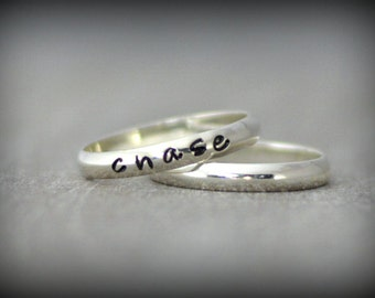 Personalized Sterling Silver Stacking Rings - Minimalist Midi Rings - Silver Stackable Rings - 3mm Sterling Silver