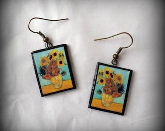 Still Life-Vase with Twelve Sunflowers Vincent Van Gogh Earrings Handmade Polymer Clay