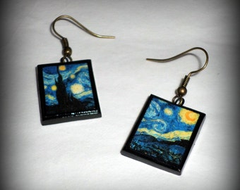 Starry Night Vincent Van Gogh Earrings Handmade Polymer Clay