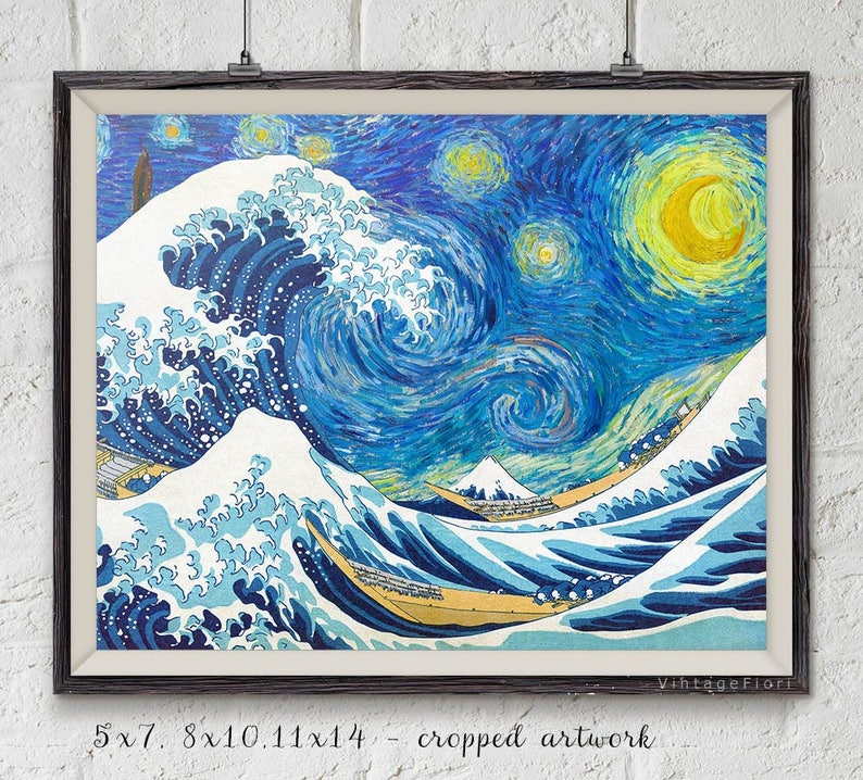 Vincent Van Gogh Digital Download Print Printable Fine Art The Great Wave Off Kanagawa Instant Download Poster