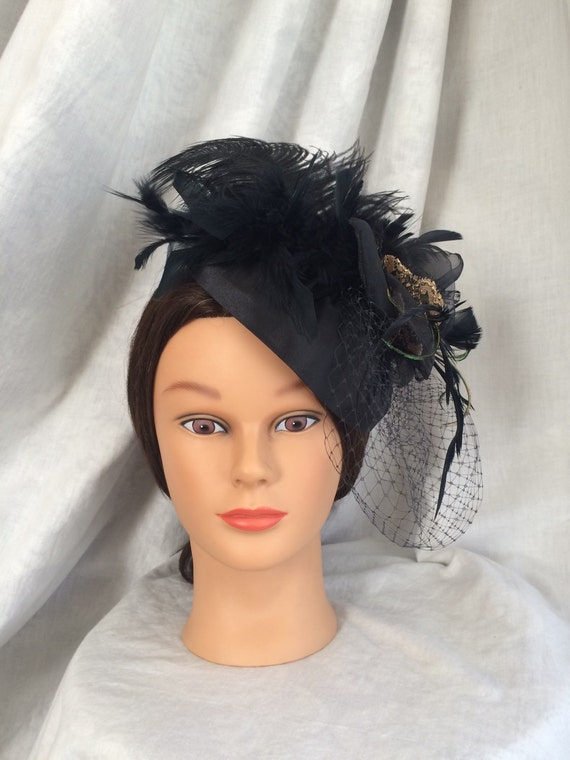 Black Gold Feather Fascinator Mini Hat 1920s style inspired  ed4fa954b8a