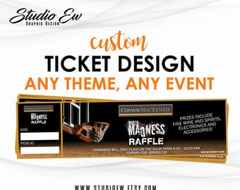 Custom Ticket Design (Any Event Any Theme), Fundraiser Ticket Design, Dinner Ticket, Event Ticket, Ticket Design, Free Proof, Digital File
