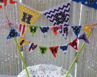 HAPPY BIRTHDAY Cake Banner- Bright Colors